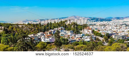 Athens skyline with Hill of the Nymphs, and the church of Agia Marina National Observatory
