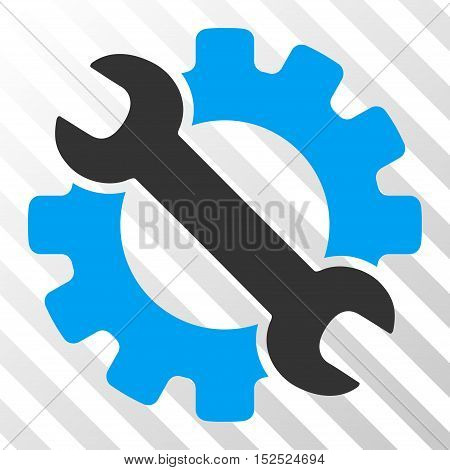 Blue And Gray Service Tools interface toolbar icon. Vector pictogram style is a flat bicolor symbol on diagonal hatch transparent background.