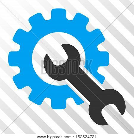 Blue And Gray Service Tools interface toolbar pictogram. Vector pictograph style is a flat bicolor symbol on diagonal hatch transparent background.