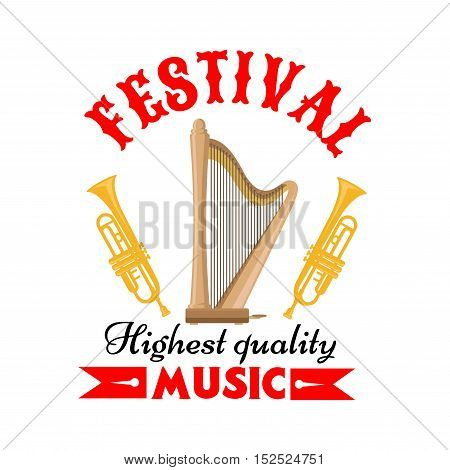 Music festival or musical instrument sign of cartoon harp with trumpets on both sides, adorned by forked red ribbon. Music and arts themes design