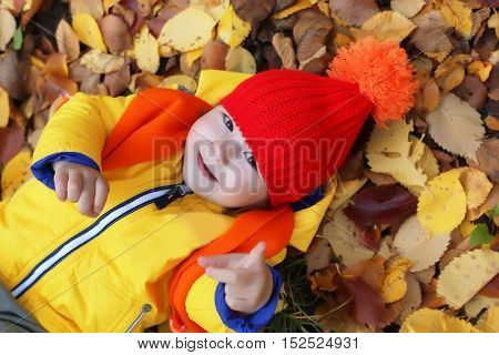 couple kids brother and sister in autumn laying in leaves