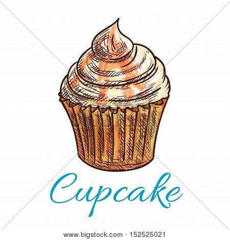 Cupcake dessert isolated sketch. Chocolate cake with cream and salted caramel frosting. Pastry or bakery shop menu, food packaging design