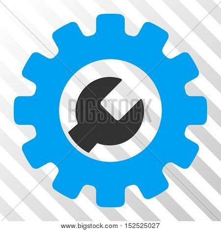 Blue And Gray Service Tools interface toolbar pictogram. Vector pictogram style is a flat bicolor symbol on diagonal hatch transparent background.