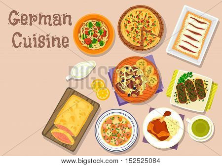 German cuisine lunch dishes icon with ham hock, pork roll, vegetable sausage stew, bacon pie, salmon in flaky dough, pork ribs sauerkraut stew, sherry strudel, brussel sprout soup with noodle