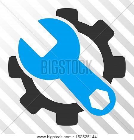 Blue And Gray Service Tools interface pictogram. Vector pictogram style is a flat bicolor symbol on diagonal hatch transparent background.