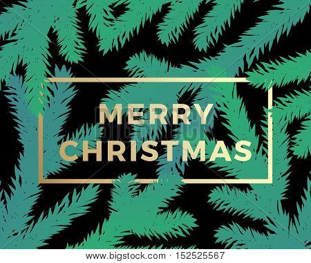 Merry Christmas Abstract Vector Classy Card. Modern Golden Typography on Dark Background with Branches Silhouettes.