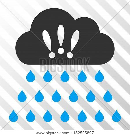Blue And Gray Thunderstorm Rain Cloud interface toolbar pictogram. Vector pictograph style is a flat bicolor symbol on diagonal hatch transparent background.