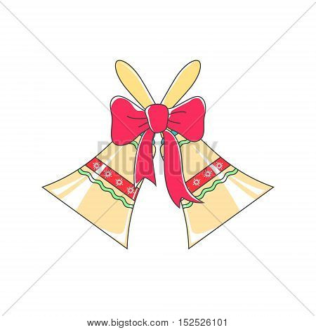 Holiday Jingle Bells with Ornament Decorated with a Pink Bow Isolated on White Background, Christmas Decoration, Vector Illustration