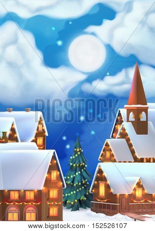 Christmas background. Vector illustration. Christmas village