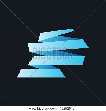 Bright Blue Origami Paper Banners on Black Background , Vector Illustration