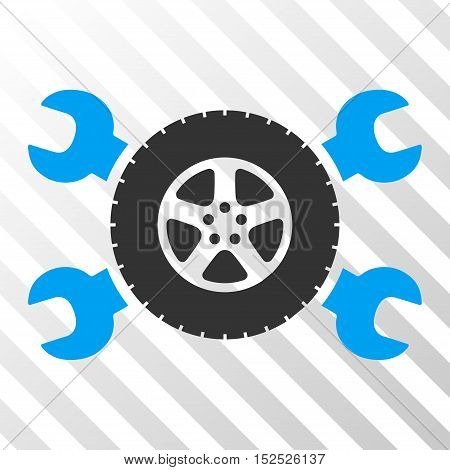 Blue And Gray Tire Service Wrenches interface pictogram. Vector pictograph style is a flat bicolor symbol on diagonal hatch transparent background.