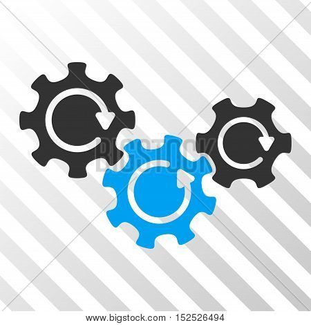 Blue And Gray Transmission Gears Rotation interface icon. Vector pictograph style is a flat bicolor symbol on diagonal hatch transparent background.