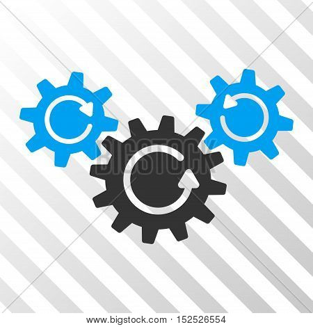 Blue And Gray Transmission Wheels Rotation toolbar pictogram. Vector pictograph style is a flat bicolor symbol on diagonal hatch transparent background.