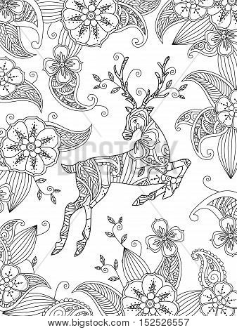 Coloring page with running deer and floral background. Vertical composition. Good quality coloring book for adult and children. Editable vector illustration.