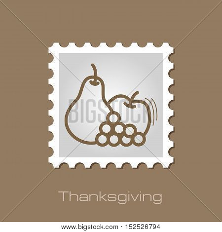 Apple Grapes and Pear stamp. Harvest. Thanksgiving vector illustration eps 10