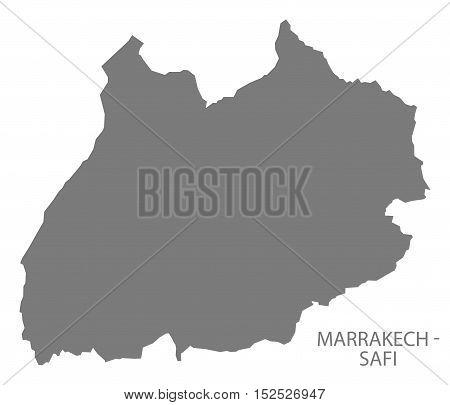 Marrakech - Safi Morocco Map grey illustration high res
