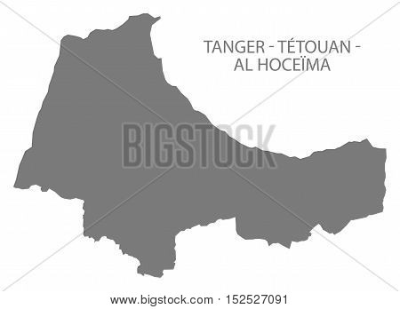 Tanger - Tetouan - Al Hoceima Morocco Map grey illustration