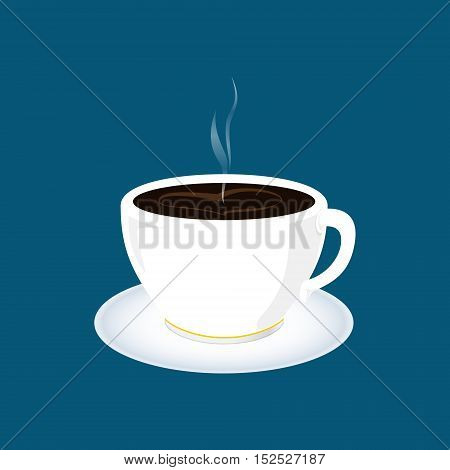 Cup of Tea, a Cup of Coffee Isolated on Blue Background , Vector Illustration