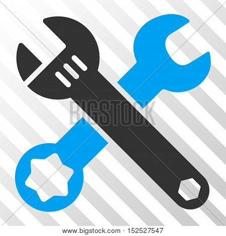 Blue And Gray Wrenches interface icon. Vector pictogram style is a flat bicolor symbol on diagonal hatch transparent background.