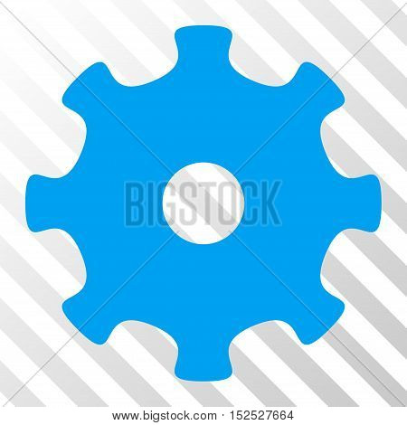 Blue Gear interface icon. Vector pictogram style is a flat symbol on diagonal hatch transparent background.