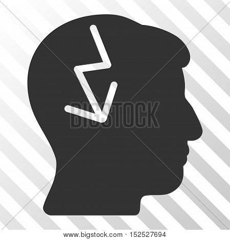 Gray Brain Electric Strike interface toolbar icon. Vector pictogram style is a flat symbol on diagonal hatch transparent background.