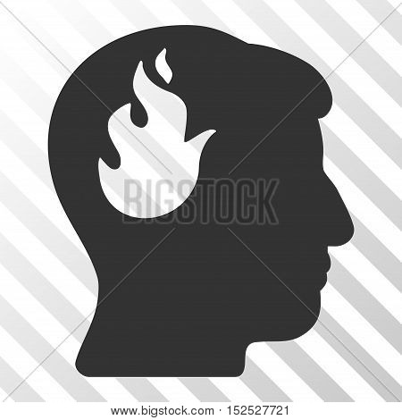 Gray Brain Fire interface icon. Vector pictograph style is a flat symbol on diagonal hatch transparent background.