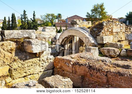 Ruins and arch in ancient Kerameikos district in Athens, Greece