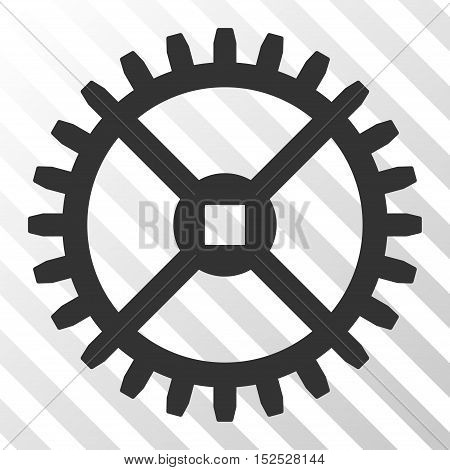 Gray Clock Gear interface pictogram. Vector pictogram style is a flat symbol on diagonal hatch transparent background.