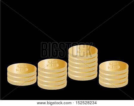 Vector coins - money symbol on the black background