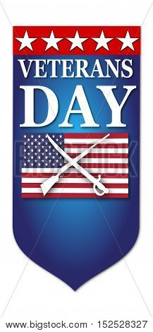 Veteran day flag banner with american flag and sword, gun