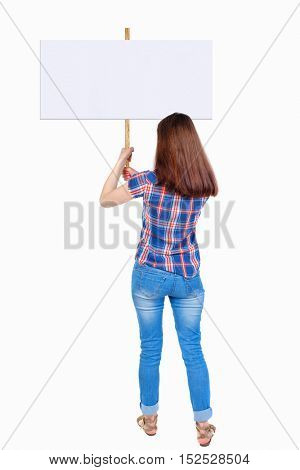 Back view woman showing sign board. man holds information plate. Rear view people collection. backside view of person. Isolated over white background. Girl in plaid shirt holding both hands pointer.