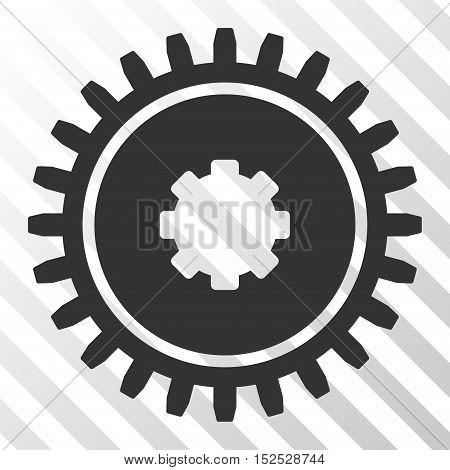 Gray Cogwheel toolbar pictogram. Vector pictogram style is a flat symbol on diagonal hatch transparent background.