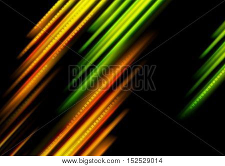 Glowing contrast green and orange stripes background. Abstract colorful vector design