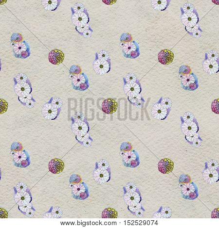 Seamless floral pattern with asters and daisy flowers. Floral watercolor background.