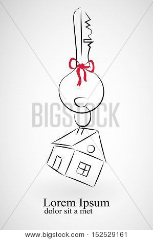 The silhouette of a key with a little house on a keyring. Design element for logo of real estate. Vector illustration of key and house on white background.