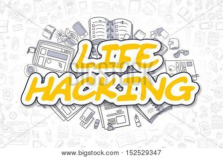 Cartoon Illustration of Life Hacking, Surrounded by Stationery. Business Concept for Web Banners, Printed Materials.