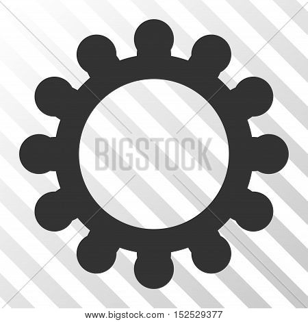 Gray Gear interface pictogram. Vector pictogram style is a flat symbol on diagonal hatch transparent background.
