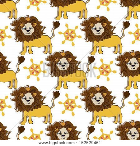 pink gold lion pattern with magic flower, cartoon and cute, vector