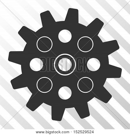 Gray Gearwheel interface toolbar icon. Vector pictograph style is a flat symbol on diagonal hatch transparent background.