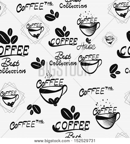 Coffee seamless pattern with brown cups of brewed coffee, hot chocolate and creamy cappuccino, scattered over white background. Coffee shop, morning menu decoration of kitchen interior design