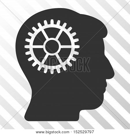Gray Intellect Cog toolbar icon. Vector pictogram style is a flat symbol on diagonal hatch transparent background.