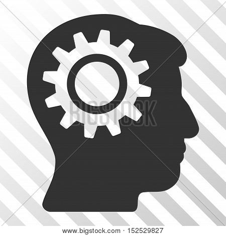 Gray Intellect Gear interface icon. Vector pictograph style is a flat symbol on diagonal hatch transparent background.