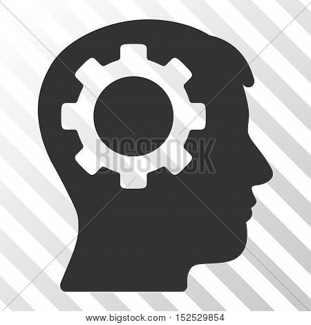 Gray Intellect Gear toolbar icon. Vector pictogram style is a flat symbol on diagonal hatch transparent background.
