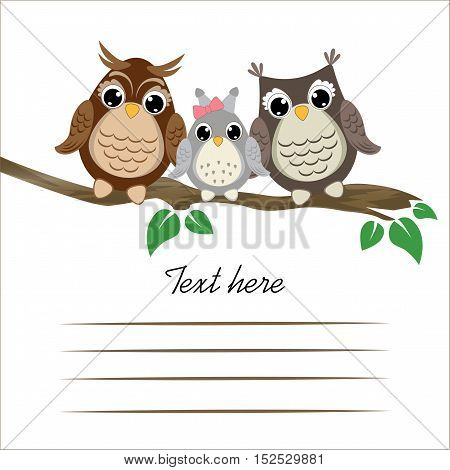 Three cute owls on a tree branch with old paper scroll. Vector background with family of owls on the branch.