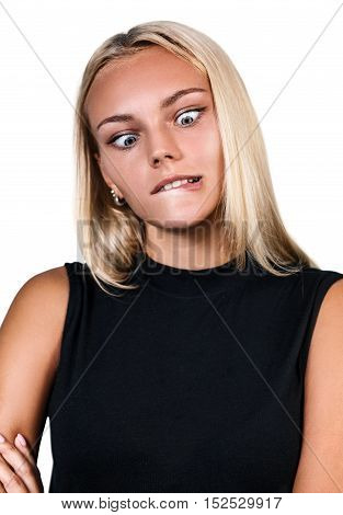 Young blonde woman showing grimace isolated on white