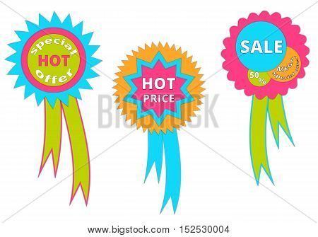 Set of banners with hot offers for sales. Vector illustration.
