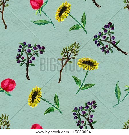 Seamless pattern with flowers and berries. Floral watercolor background.