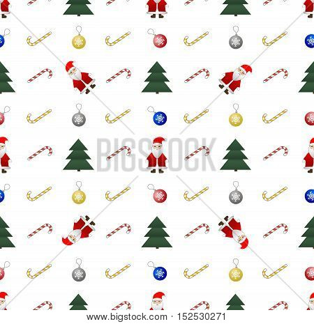 Christmas and New Year seamless pattern on white background