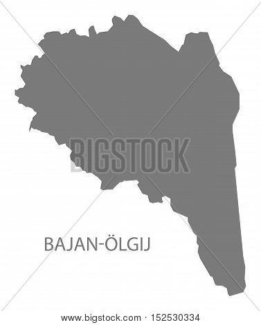Bajan - Olgij Mongolia Map grey illustration high res