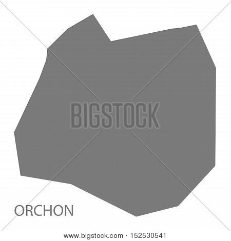 Orchon Mongolia Map grey illustration high res